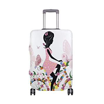 FOLPPLY Pink Fairy Girl Floral Luggage Cover Baggage Suitcase Travel Protector Fit for 18-32 Inch
