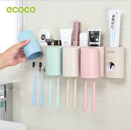 Gika R Soporte para cepillos de dientes montado en la pared trigo paja fabricada en material