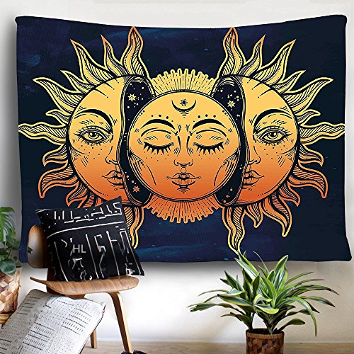 HL Wall Tapestry, Moon and Sun Face Pattern Fabric Wall Tapestry Hanging for Bedroom Living Room Dorm Handicrafts Beach Cover Up Curtain Polyester Wall Decor(60 x 80 Inch, Moon and Sun) by Hongxiu Lighting Direct (Image #6)