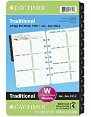 """Day-Timer 2019 Weekly Planner Refill, 5-7/16"""" x 8-1/2"""", Desk Size 4, Loose Leaf, Two Pages Per Week, Classic (91010)"""