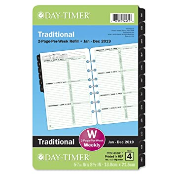 Amazon Com Day Timer 2019 Weekly Planner Refill 5 1 2 X 8 1 2