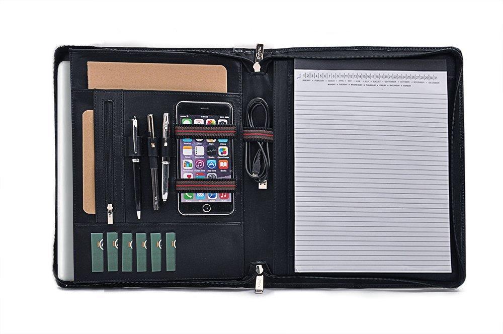 Design Leather Organizer Portfolio for A4 Notepad and 13 inch MacBook,Black