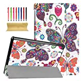 kindle fire hd standing case - Fire HD 10 Case, Dteck Ultra Slim PU Leather Trifold Stand Case with Auto Wake/ Sleep Function Cover for All-New Amazon Fire HD 10.1 inch Tablet (7th Generation, 2017 Release), Colorful Butterfly