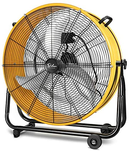Simple Deluxe HIFANXDRUM24 24 Inch Heavy Duty Metal Industrial Drum Fan, 3 Speed Air Circulation for Warehouse, Greenhouse, Workshop, Patio, Factory and Basement – High Velocity , Yellow