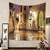 Gzhihine Custom tapestry Ambesonne Gothic Decor Collection Gothic Ancient Stone Quarter of Barcelona Spain Renaissance Heritage Gothic Night Street Photo Bedroom Living Room Dorm Tapestry Cream
