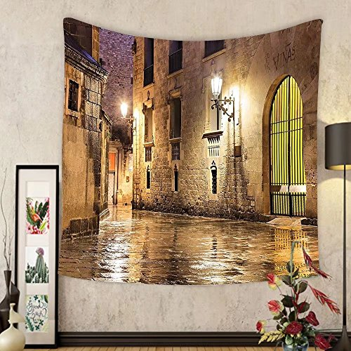 Gzhihine Custom tapestry Ambesonne Gothic Decor Collection Gothic Ancient Stone Quarter of Barcelona Spain Renaissance Heritage Gothic Night Street Photo Bedroom Living Room Dorm Tapestry Cream by Gzhihine