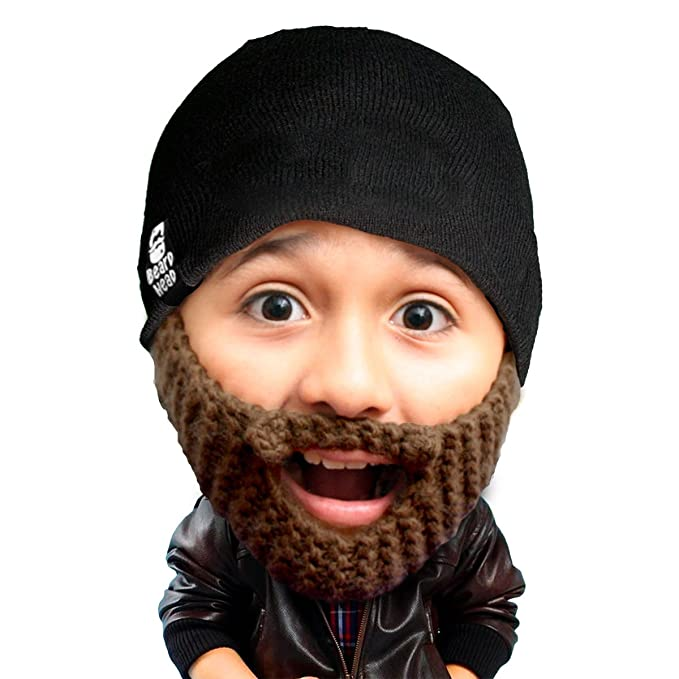 080b2d5e267 Beard Head Kid Populous Beard Beanie - Knit Hat and Fake Beard for Kids  Toddlers Brown
