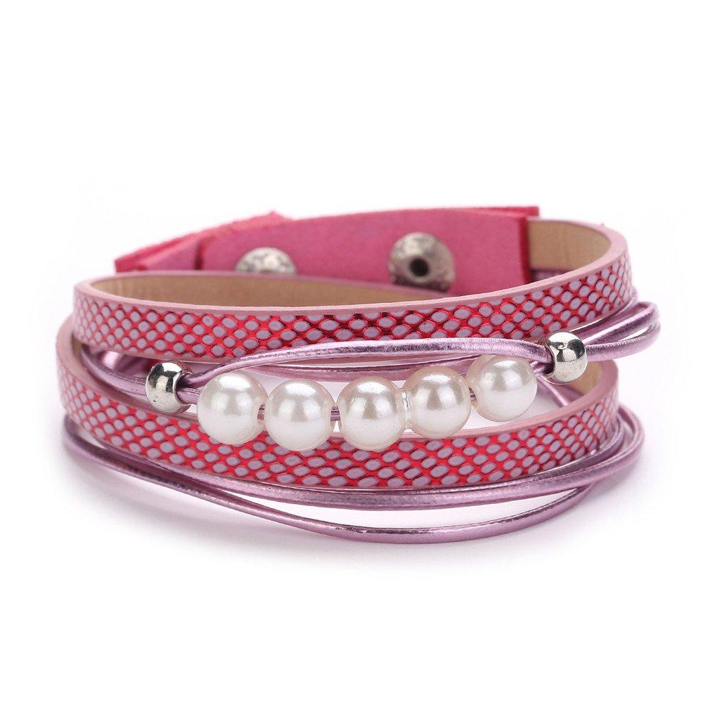 Women Cord Multilayer Handmade Wristband AU Leather Bracelet Wrap Bangle Wristband Bracelet Gift for Girls Mens Teens Student Best Friend Forever(A)