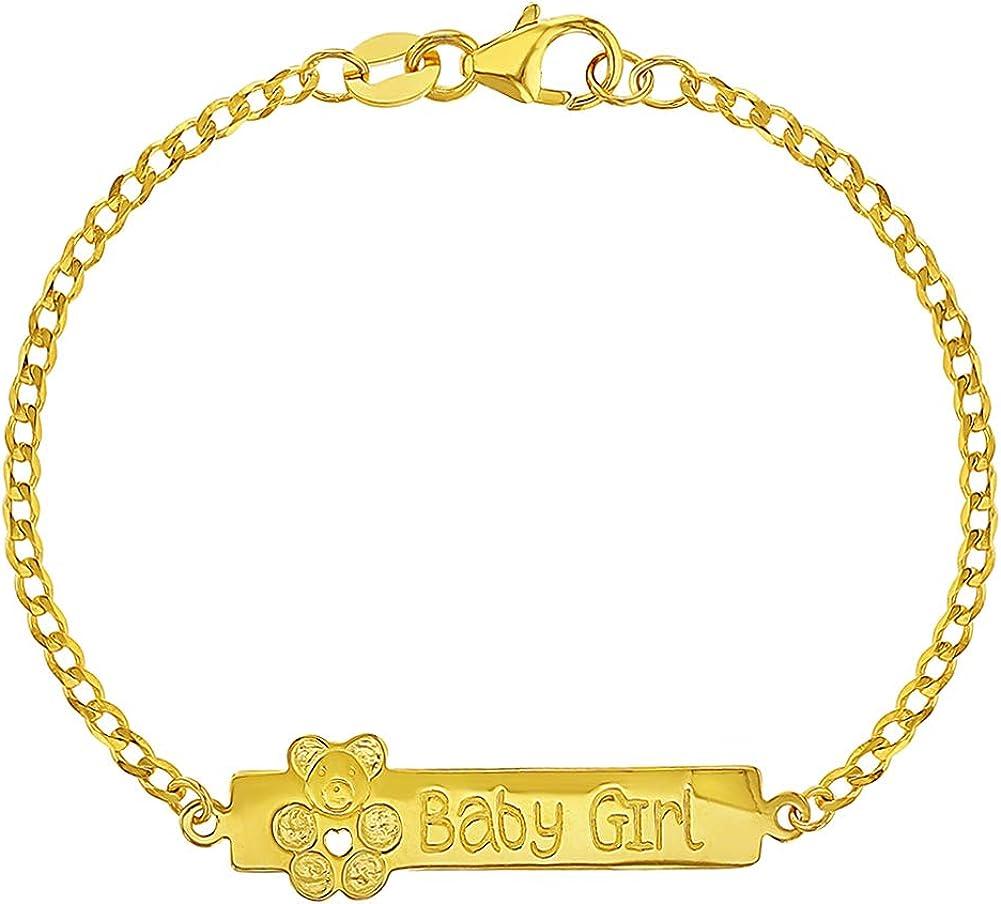Pulsera de plata de ley 925 con diseño de oso de peluche, para recién nacido, 14 cm