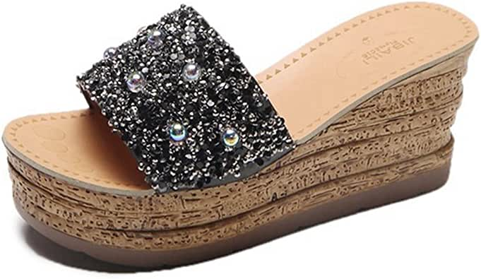 Amazon.com | CYBLING Women's Open Toe Glitter Wide Band