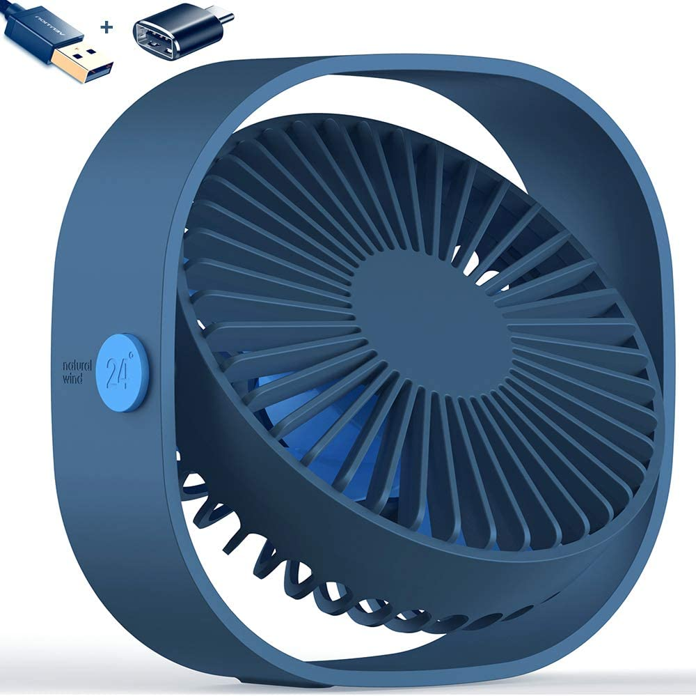 AmuseNd USB Desk Fan, USB Power Desktop Fan Ultra-Quiet Third Gear Speed 4inch Portable Mini Fan for Bedroom Office Desktop (Blue)