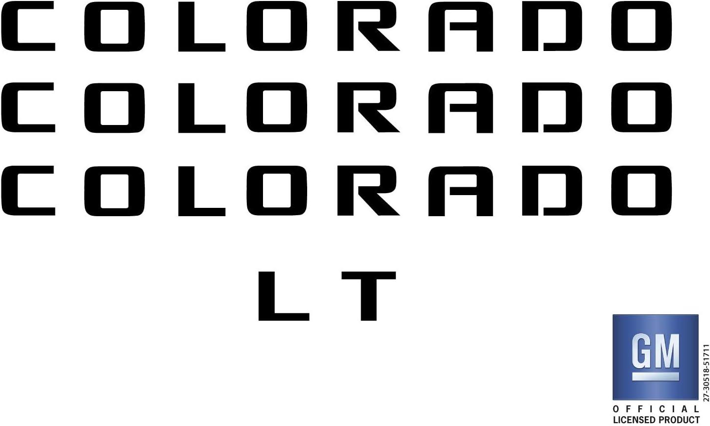 EmblemsPlus Chevy Colorado LT Truck Emblem Overlay Decal Letters (Black) Set of 4 Fit 2015 Thru 2018. GM Official Licensed Product.