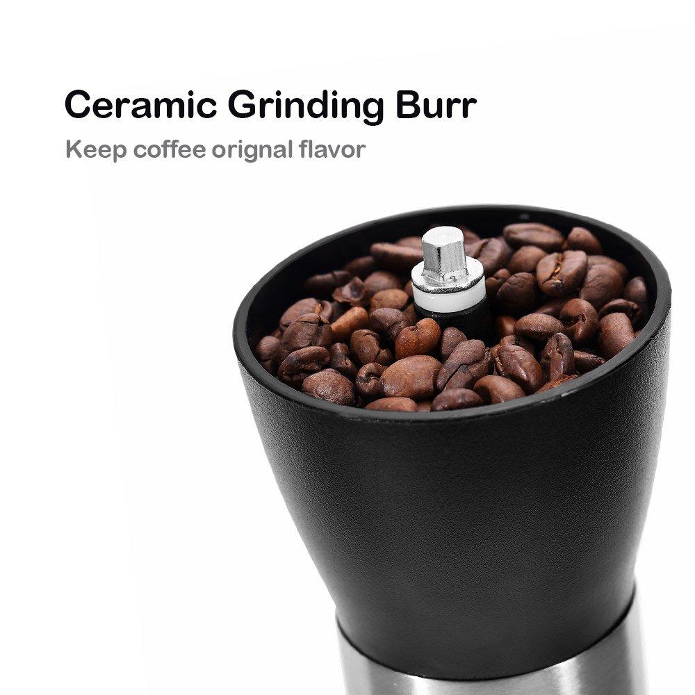 VANVENE Manual Coffee Grinder, Coffee Bean Grinder, Adjustable Hand Grinder, Ceramic Conical Burr Mill, Mini Portable Home Kitchen Travel Coffee Bean Grinder/Coffee Mill for Precision Brewing by VANVENE (Image #9)