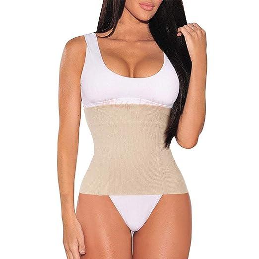 20e2166439 JITIFI Women s Postpartum Waist Trainer Belt Body Shaper Belly Wrap  Compression Band Beige ...