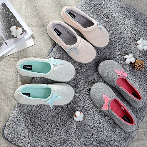 Home Knit KushyShoo Washable Anti House Flats Slip Machine Cozy Gray Slippers Women Cotton pink Soft qAxAPUwT