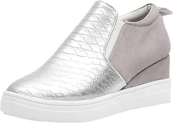 YWLINK Casual Zapatos Mujer Zapatos Planos TamañO Grande CuñA Botines con Cremallera Zapatos De Cabeza Redonda Antideslizante Transpirable Zapatillas De Deporte Fiesta En La Playa Viajes Regalo