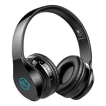 Macrout Cascos Bluetooth Inalámbricos, Auriculares Bluetooth de Diadema Plegable Portatiles 7 LED con Microfono Sonido Estéreo Hi-Fi Cómodo TF Targeta ...