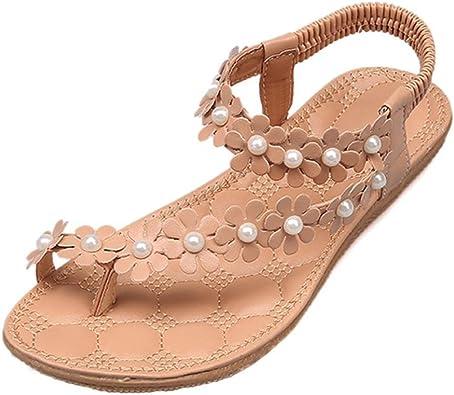 LUCKYCAT Amazon, Sandales d'été Femme Chaussures de Été Sandales à Talons Chaussures Plates Bohème Perles de Fleur Chaussures Flip Fleurs Pantoufles
