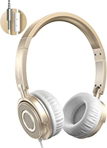 Vogek On Ear Headphones with Microphone, Lightweight Portable Fold-Flat Headsets with Mic, Stereo Bass, 1.5M Tangle Free Cord, Adjustable Headband for Teens Adults at Home School Office, Gold