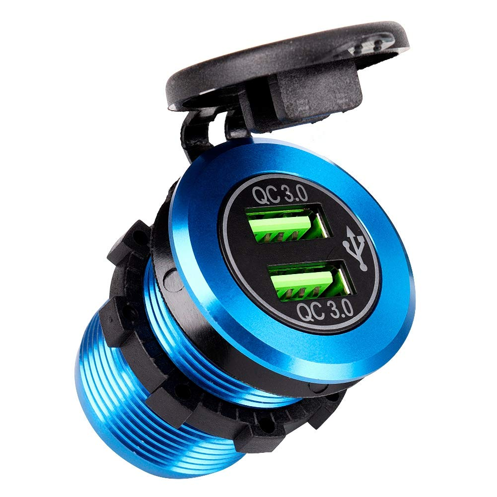 Acouto Durable Fireproof QC3.0 Portable USB Fast Charging Socket Digital LED Voltmeter Ammeter Aluminum Alloy Charger for Motorcycle Boat Car