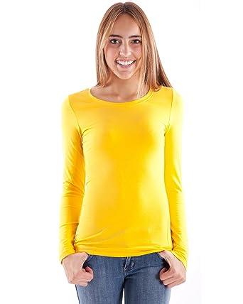 bb3dd7902 Yellow Ladies Crew Neck Long Sleeve T-Shirt: Amazon.co.uk: Clothing