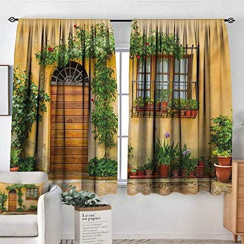 (All of better Italy Blackout Window Curtain Porch with Different Flowers Pots Fresh Green Plants City Life in Tuscany Waterproof Window Curtain 63