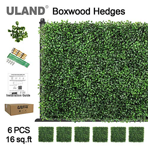 ULAND Artificial Boxwood Hedges Panels, Faux Grass Wall, Shrubs Bushes Backdrop, Garden Privacy Screen Fence Decoration, Pack of 6pcs 20x20