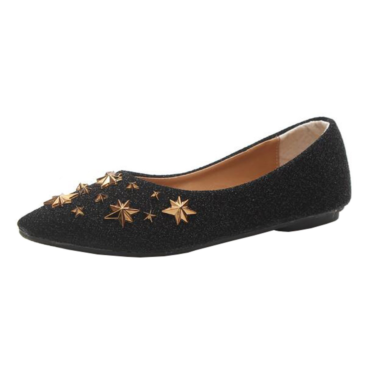 Mashiaoyi Womens Pointed-Toe Flat Slip-on Metal Ballet Flats