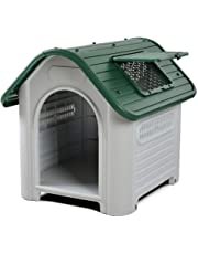 Cuccia per cane dog house media grande resina Water Proof pp esterno interno Verde - Bianco - con finestra L 87 x W 72 x H 75,5 cm