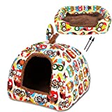 Pet Tent 2 in 1 Soft Pet Dog Cat Bed House Kennel Doggy Warm Cushion Basket By Guardians