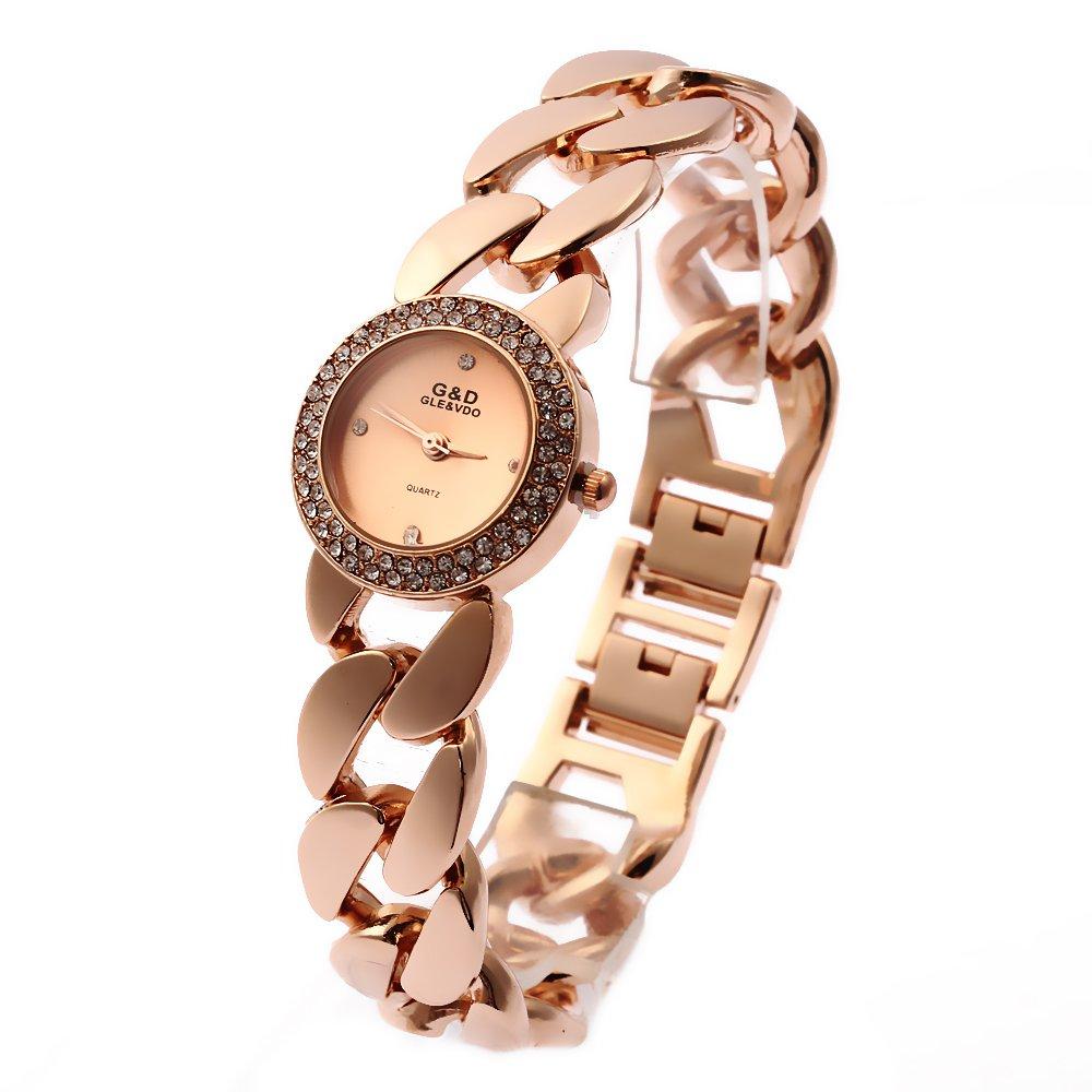 Amazon.com: Sheli Futuristic Rose Gold Tone White Small Face Diamonds Wrist Watch for Woman: Watches