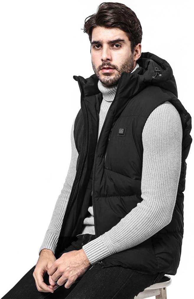 Winter Men's Smart Heating Vest Gilets men Down Cotton Casual Vest Safety Thermostat (Color : Black) Black