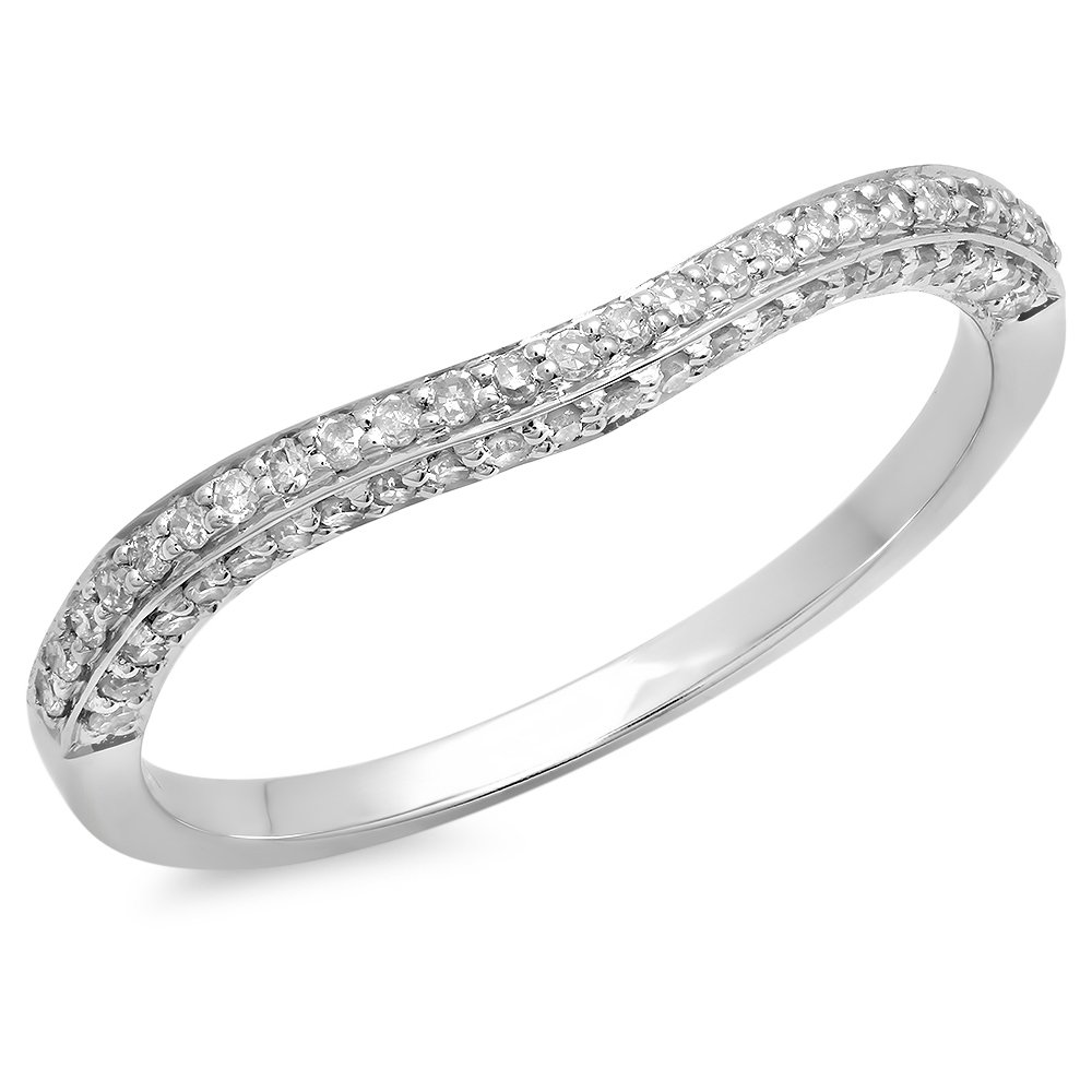 Dazzlingrock Collection 0.20 Carat (ctw) 14K Diamond Stackable Wedding Contour Band Guard Ring 1/5 CT, White Gold, Size 7