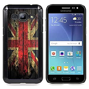 Grunge Wood Retro Union Jack Flag Caja protectora de pl??stico duro Dise?¡Àado King Case For Samsung Galaxy J2