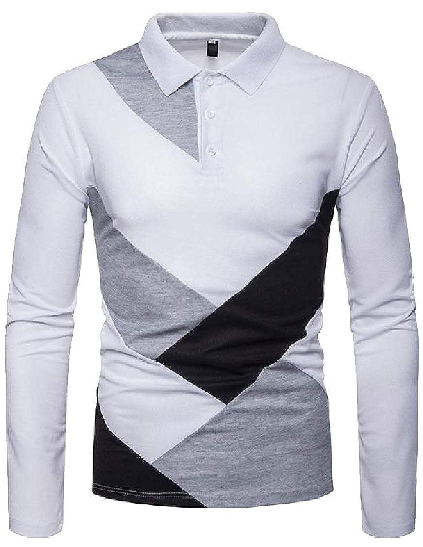 Hajotrawa Men Contrast Color Polo Shirt Long Sleeve Casual T-Shirts Tops Tees