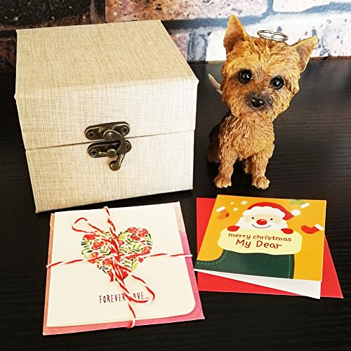 Yorkshire Terrier Shook Head Dog Statue with Wing Come with a Gift Box and Holiday Card