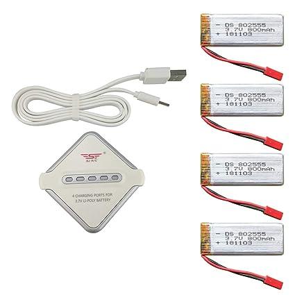 Amazon.com: Anbee 4X 3.7V 800mAh LiPo Batería + 4-en-1 ...