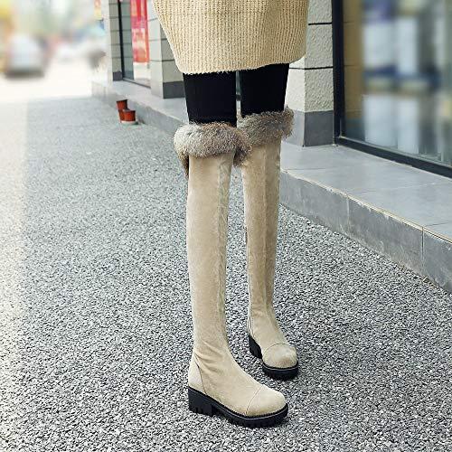 Gran Felpa La Botas Tacón Algodón Invierno Con Rodilla Mujer Ue 40 Sobre De Bajo pulir Qingmm Tamaño 2018 41 Otoño 43 FP6xqI6wn