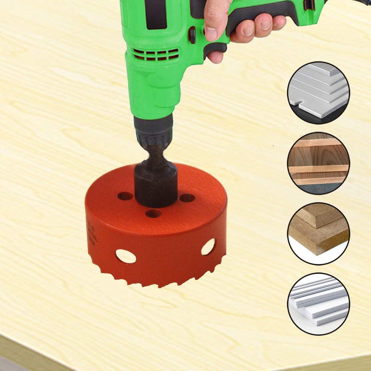 paneles de yeso 38 mm de profundidad M42 bimet/álica con biela JE Sierra de orificio de 60 mm // 2,36 Sierra de broca de taladro tableros de fibra madera pl/ástico para cortar metal blando