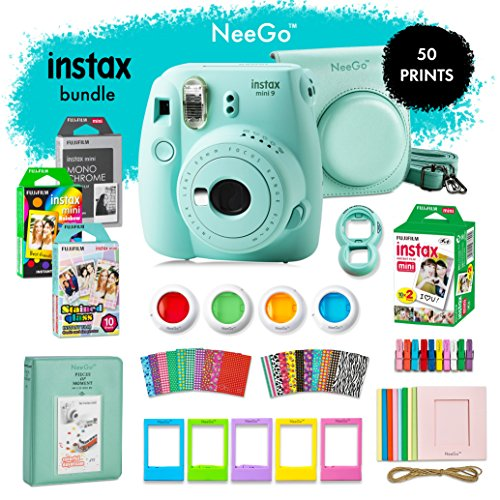 NeeGo Instax Mini 9 Instant Camera Bundle  Deluxe Kit Camera, Matching Case & 4 Fun Film PacksRainbow, Stained Glass, Monochrome & White 50 Exposures Instant Creative Photos-Ice Blue