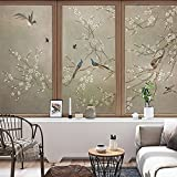 YL Stained Glass Decorative Window Film, Premium Static Cling No-Glue Stained Glass Decorative Window Film, Vinyl Scrub Privacy Window Film,Three pieces of set:A+B+C (45CM60CM, Birds and flowers)
