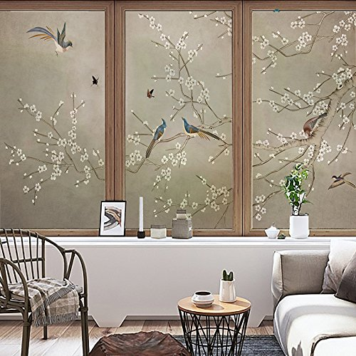 YL Stained Glass Decorative Window Film, Premium Static Cling No-Glue Stained Glass Decorative Window Film, Vinyl Scrub Privacy Window Film,Three pieces of set:A+B+C (45CM60CM, Birds and flowers) by YINGLI