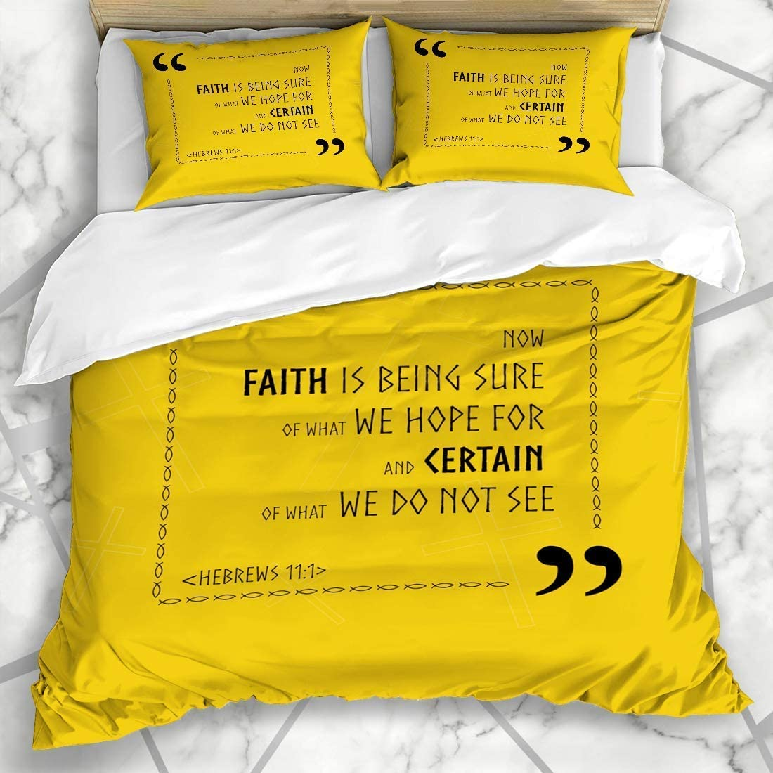 Duvet Cover Sets Jewish Verse Best Bible Quotes About Faith Holy Biblical Ancient Christ Christian Christianity Design Microfiber Bedding with 2 Pillow Shams Easy Care Anti-Allergic Soft SMO