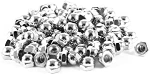 uxcell Acorn Hex Cap Nuts - 100Pcs M6 Dome Nuts Nickel Plated Hexagon Decorative Cap Nut for Screws Bolts Silver Tone