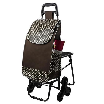 HCC carrito Dolly con asiento carro de supermercado de compras subir las escaleras plegable de comestibles