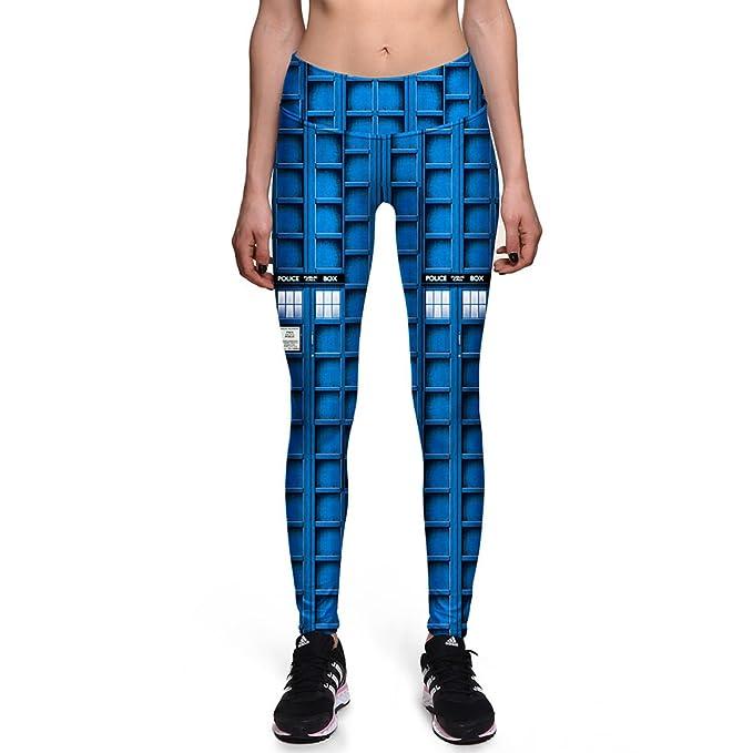XNRHH Moda para Mujer Leggings De Cuadros Azules Leggings ...