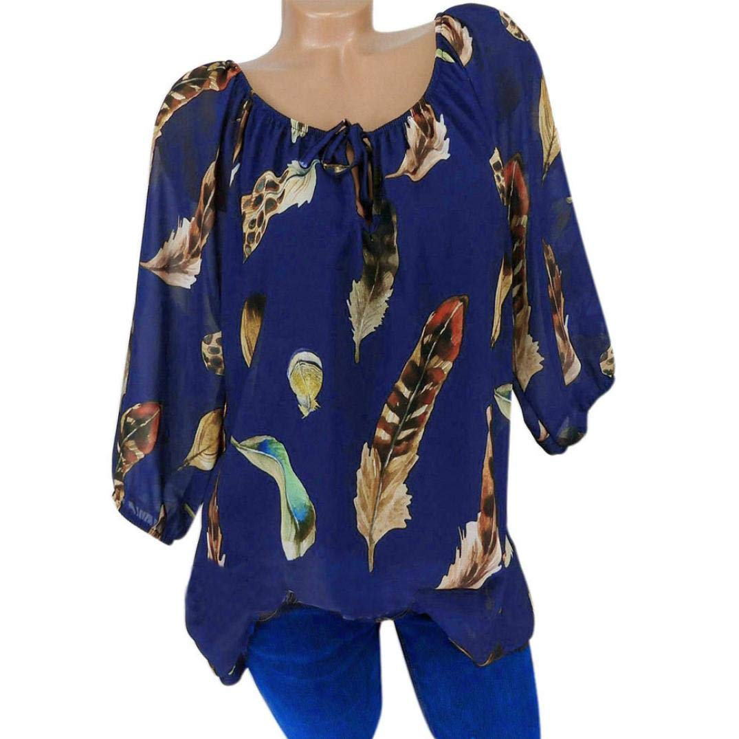 BETTERUU Women Casual Plus Size Feather Print V-Neck Blouse Pullover Tops Shirt BEUU