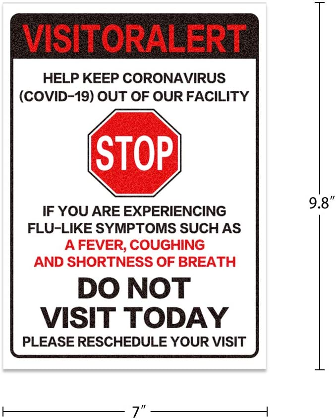 7 x 9.8 Safety Sign Please Reschedule Your Visit 2pcs FaCraft Visitor Alert COVID-19 Do Not Visit Sign