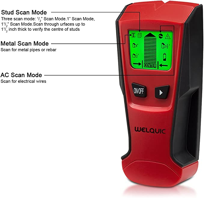 WELQUIC Electric Center-finding Stud Finder with 3-in-1 Metal AC Wires Wood Scanner with Backlit LCD Screen and Beeping Signal Alert, Black and Red