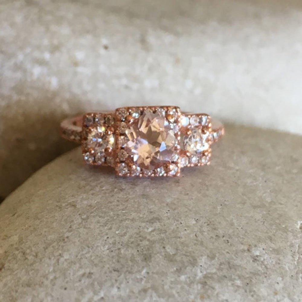 Morganite Rose Gold Ring- Three Stone Engagement Ring- Promise Ring for Her- Art Deco Bridal Wedding Ring- Vintage Inspired Morganite Ring